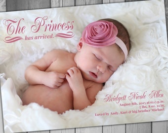 Princess Baby Girl Announcement Photo Baby Announcement Printable Birth Announcement Baby Girl Birth Announcement Modern Birth Announcement