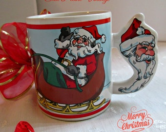 The Love Mug Coffee Cup Mug Santa Claus Sleigh Reindeer Christmas Eve 1989