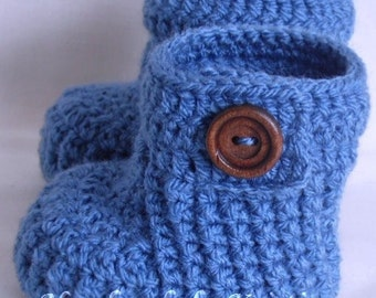 Blue Baby Booties, Crochet Baby Baby, Handmade Boots, Newborn Boys Shower Gift, Knitted Booties, CHOOSE COLOUR and SIZE