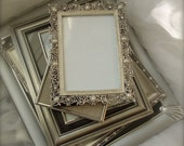 6 Vintage picture frames: set of silver colored pictures frames, silver colored picture frames