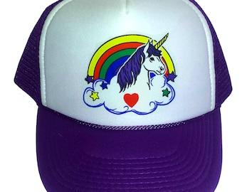 Adult Unicorn Rainbow Purple Snapback   Mesh Trucker Hat Cap