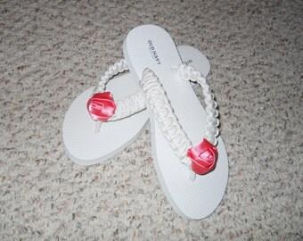 Bride/Bridal Paracord Flip Flops, custom flip flops, custom color flip flops, flip flops, wedding flip flops, bridesmaid gift, bridal shower