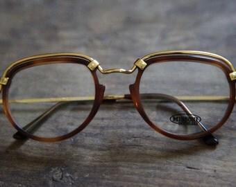 1980's Missoni Gold Rimmed Glasses / New Old Stock Frames / Eyeglasses /  Rare Unique Eyewear
