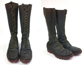 1950s RARE Highliner Lineman Smokejumper Tall Black Lace Up Red Sole Biker Boots 11.5