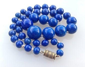 Superb Blue Jade Necklace, Vintage Handmade Chinese Export Blue Jade Necklace, Vintage Blue Chinese Export Necklace. Blue Chinese Necklace.