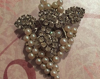 Pearl and White Rhinestone Grape Cluster Pin Brooch