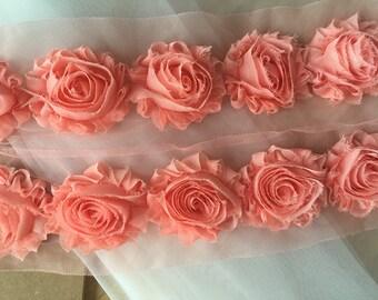 Shabby Chic Rosette Lace Trim Chiffon Flower Shabby Rose Trim Shabby Flower Rose Trim