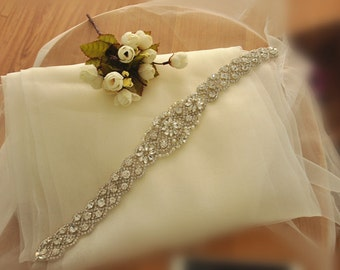 Rhinestone Applique, Beaded Bridal Sash Applique , Wedding Belt Iron On Applique