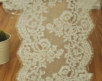 French Eyelash Alencon Lace Trim, Embroidery Lace Ivory Alencon Lace Trim for Wedding Shrug Bridal Veil