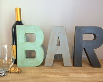 "8"" Vintage Style Hand Painted Letters.  BAR letters. Typography. Letters. Faux Aged Metal. Painted Letters.Vintage Letters."