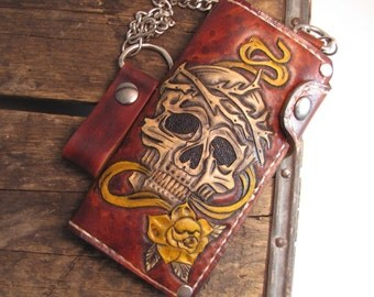biker wallet (chain wallet,leather wallet,skull wallet,free shipping,motorcycle wallet,mens gift,tattoo wallet,outlaw leather USA)