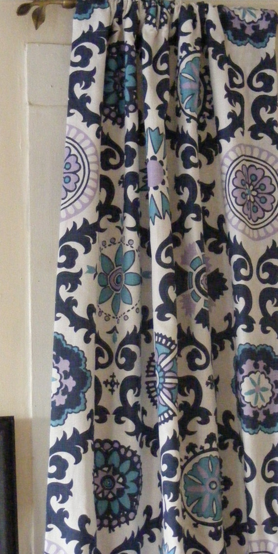 Blue Curtain Panels Pair Lined Navy Blue by ThePincushionStore