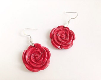 Red Stone Flower Earrings Dyed Jasper