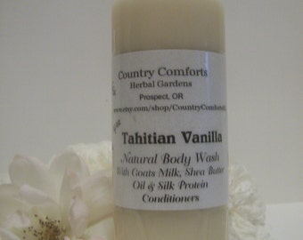 Tahitian Vanilla Natural Body Wash - Goats Milk, Shea Butter Oil, Silk Protein Conditioners - 4 oz bottle