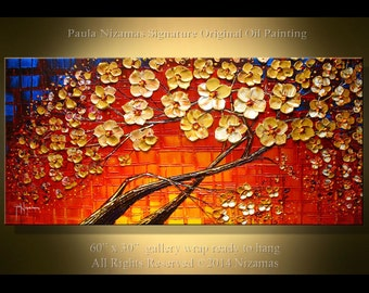 """Abstract Red Oil painting - 60"""" Landscape  original palette knife heavy texture wall decor accent colors Paula Nizamas"""