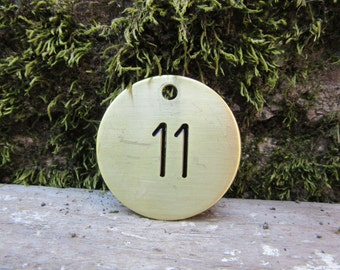 Number 11 Tag Brass Metal Round Tag #11 Industrial Tag Vintage Styled Keychain Address House Apartment Number Jewelry Supply 1 1/2 Inch