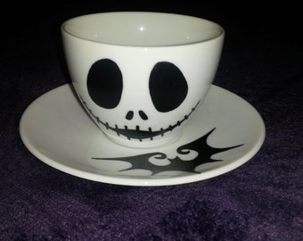 Jack Skellington Nightmare Before Christmas Handpainted Teacup and Saucer Set