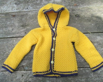 Twelve Month Yellow and Blue Button Sweater