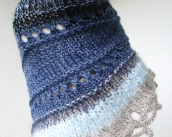 wool and mohair knit shawl, blue navy and beige triangular wrap, soft fluffy openwork shawl
