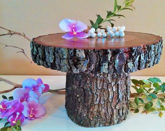 "TREASURY ITEM - 11""  Rustic wedding cake stand - Personalized cake stand - Centerpiece - Wood cake stand - Tree slice - Reclaimed wood"