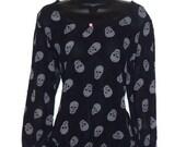 Black White Sheer Skull Print Pink Stud Scoop Neck Crop Top Blouse Womens Clothing Small or Medium