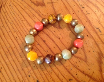 Colorful Retro Metal and Resin Beaded Bracelet c. 1960's
