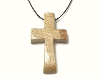 Men's Necklace -Minimalist Cross Pendant - Medium Cross Necklace - Oregon Myrtlewood - Gifts Under 20