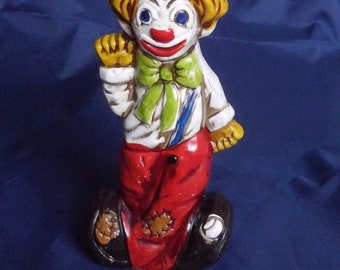 Vintage Lefton Clown Coin Bank, Two Faced Clown Ceramic Bank Happy Face and Sad Face Clown