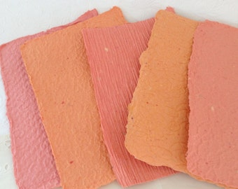 Orange Handmade paper - Shades of Orange - acid free - recycled - texture