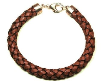 Braided leather bracelet with silver tips and clasp