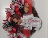 Alabama Grapevine Wreath, Alabama Wreath, Football Wreath, College Football, Roll Tide Wreath, Bama Wreath, Gameday Decor