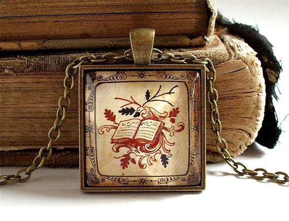 Book Necklace - Antique Print Book Pendant in Bronze - Book Jewelry