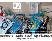 2-6x6 Mongrammed Custom Fabric Napkins Fits Perfectly with our Montessori TeachMe Placemat also great for Lunch Boxes by Messy Kids Designs