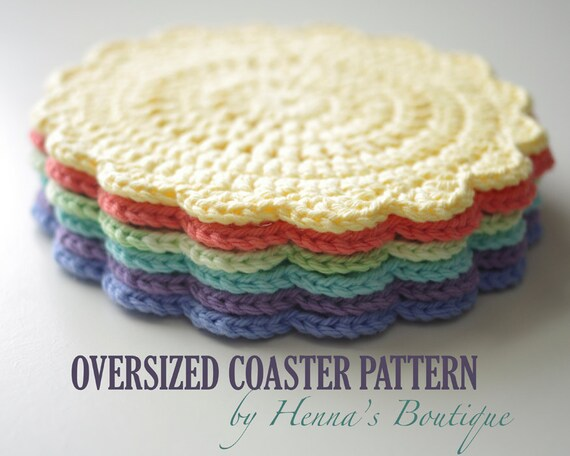Free Crochet Fish Coaster Pattern : Crochet Coaster Pattern Oversized Coaster PDF
