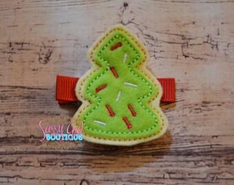 Holiday-Girls Hair Accessories-Felt Sugar Cookie Hair Clip-Embroidered Boutique Christmas Cookie Sprinkles Felt Hair Clippie-No Slip Grip