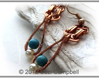 EARRINGS..Wirework-Dangle earrings with Genuine Turquoise and Glass Pearl. Wire wrapped earrings in Copper. FREE SHIPPING!