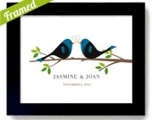 Personalized Lovebirds Art Print - Unique Wedding or Engagement Gift - Framed Art Print Wedding Gift