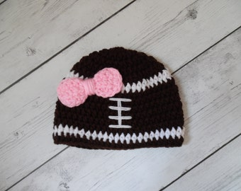 Football Hat, Crochet Football hat, Baby Girl Football Hat with Pink Bow - Made To Order
