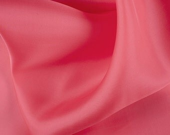 "54"" Wide 100% Silk Satin Organza Coral by the yard"