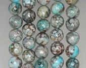 8mm Fossil Crinoid Gemstone Grade AA Aqua Blue Round Loose Beads 16 inch Full Strand (90186023-880)