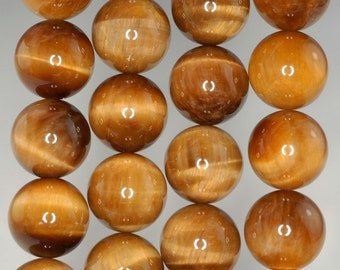 16mm Cognac Tiger Eye Gemstone Grade AAA 16mm Round Loose Beads 7.5 inch Half Strand (90186180-736)