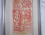 Midcentury Woodblock Print, Signed