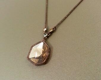 Copper Color Necklace Large Chamagne Rhinestone