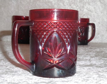 Red Arcoroc Coffee Mugs, France