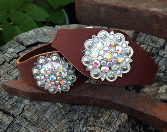 Stirrup Hobbles, Medium Oil Leather with AB Crystals