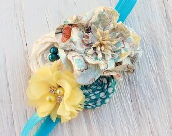 Girl headbands turquoise blue yellow baby girls headband ruffle elastic rolled rosette whimsical flower infant newborn women