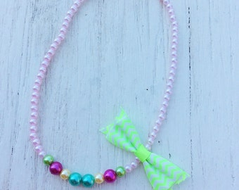 baby necklace green neon little girl chunky bead rosette stretchy string fabric flower, big girl necklace, women necklace, teen