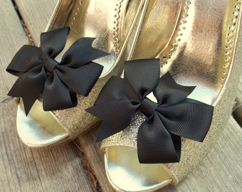 Wedding Shoe Clips, Bridal Shoe Clips, Bow Shoe Clips, Black Shoe Clips, Black Grosgrain Bows, Shoe Clips for Wedding Shoes,