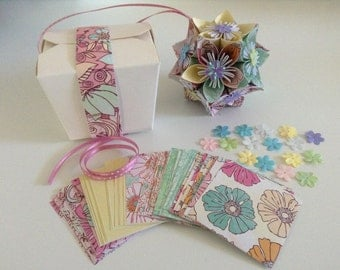 2 Kusudama Flower Ball Kits DIY- Mixed set. Florals