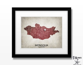 Mongolia Map Art Print - Home Is Where The Heart Is Love Map - Original Custom Map Art Print Available in Multiple Sizes